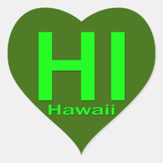 HI Hawaii plain green Stickers