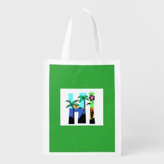 HI Hawaii Sunset Dolphin Palm Tree Reuseable Bag