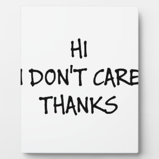 Hi I Don't Care Thanks Plaque