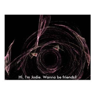 Hi, I'm Jodie. Wanna be friends? Postcard
