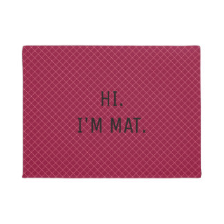 Hi Im Mat Funny Crimson Pattern Entrance Door Mat