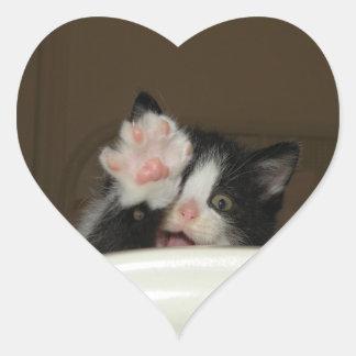 Hi kitten heart shaped stickers
