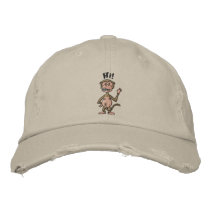 Hi! Monkey (black outline) Embroidered Baseball Hat