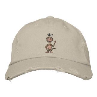 Hi! Monkey (black outline) Embroidered Baseball Hat