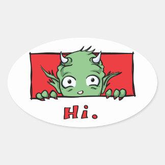 """Hi."" Monster - Oval Sticker"