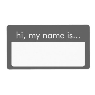 Hi, My Name is, Gray Name Tag Labels