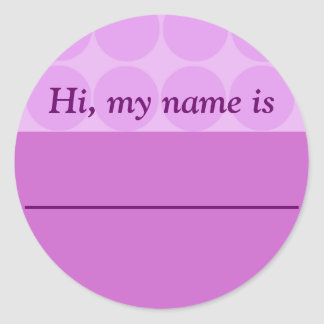"""Hi, my name is ______"" - Lavender Dotted Design Classic Round Sticker"