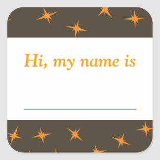 """Hi, my name is ___"" - Orange Stars On Brown Square Sticker"