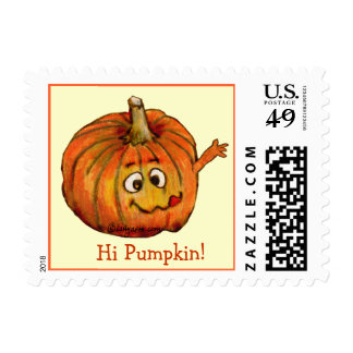 Hi Pumpkin Small Postage Square Stamps