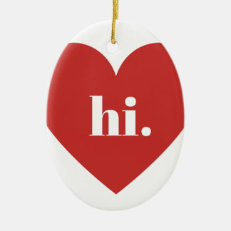 HI Red Heart Illustration Valentines Collection Ceramic Ornament