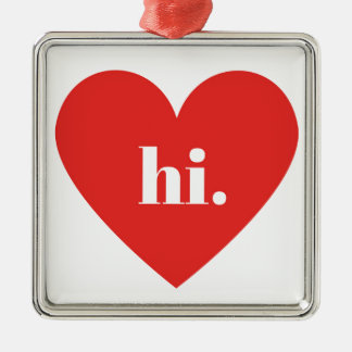 HI Red Heart Illustration Valentines Collection Metal Ornament