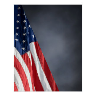Hi Res COMPACT PHOTO BACKDROP - US Flag Gray Blue Poster