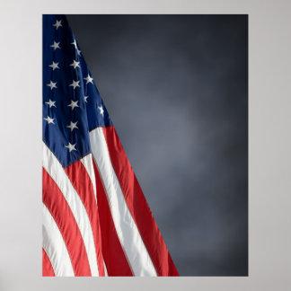 Hi Res COMPACT PHOTO BACKDROP - US Flag Gray Blue Poster
