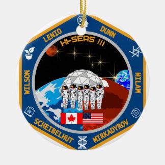 HI-SEAS Mission III Gear Double-Sided Ceramic Round Christmas Ornament