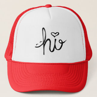 hi Smile and Heart Typography Trucker Hat