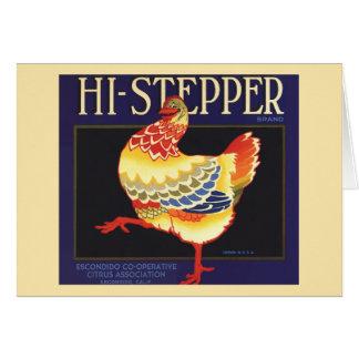 Hi Stepper Chicken Vintage Fruit Crate Label Art Cards