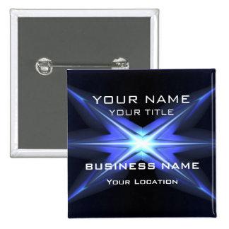 Hi Tec Futuristic Business Name Tag 2 Inch Square Button