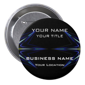 Hi Tec Futuristic Business Name Tag 3 Inch Round Button