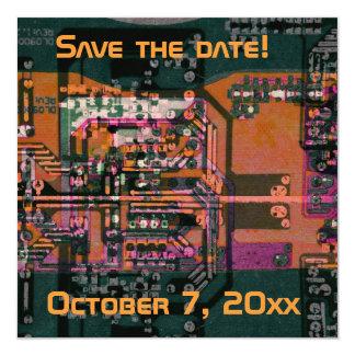 Hi- tech electronic geek wedding save the date card