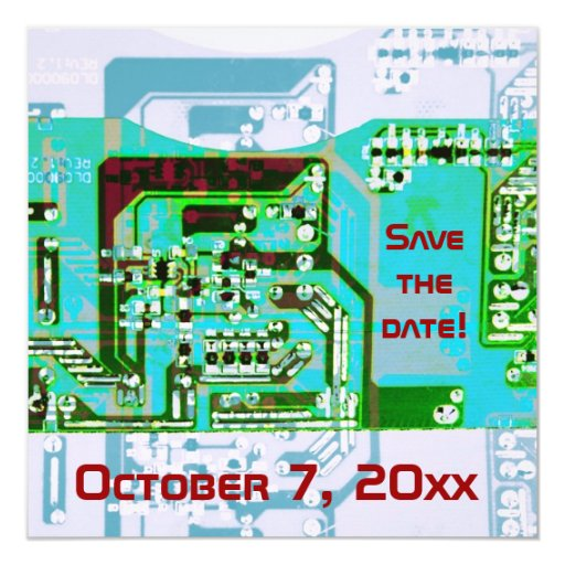 """Hi- tech electronic geek wedding save the date 5.25"""" square invitation card"""