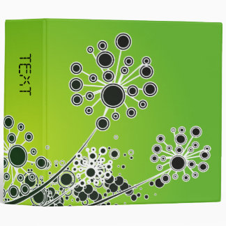 Hi Tech Flower On Lime Green Background 3 Ring Binders