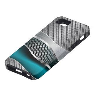 Hi Tech Futuristic Mesh Chrome Peacock Blue iPhone 5 Cover