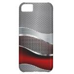 Hi Tech Futuristic Mesh Chrome Red Case For iPhone 5C