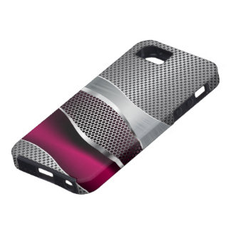 Hi Tech Futuristic Mod Mesh Chrome and Fuschia iPhone 5 Covers