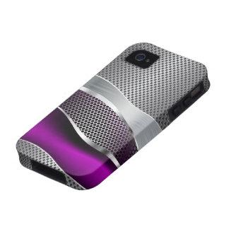 Hi Tech Futuristic Mod Mesh Chrome and Purple iPhone 4/4S Case