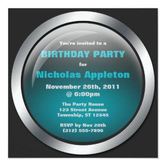 Hi-Tech Sphere Blue Birthday Party Invitations