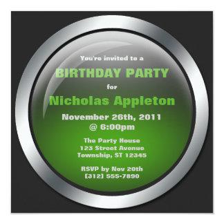 Hi-Tech Sphere Green Birthday Party Invitations