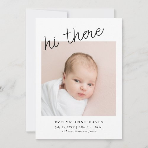 hi there Casual Script Baby Photo Collage Birth Announcement