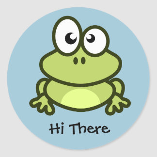 """Hi There"" Frog Sticker"" Classic Round Sticker"