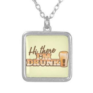Hi there! I'm DRUNK! from the Beer Shop Silver Plated Necklace