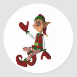 Hi There The Elf Round Stickers