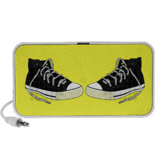 Hi Top Sneakers In Black And White Travelling Speakers
