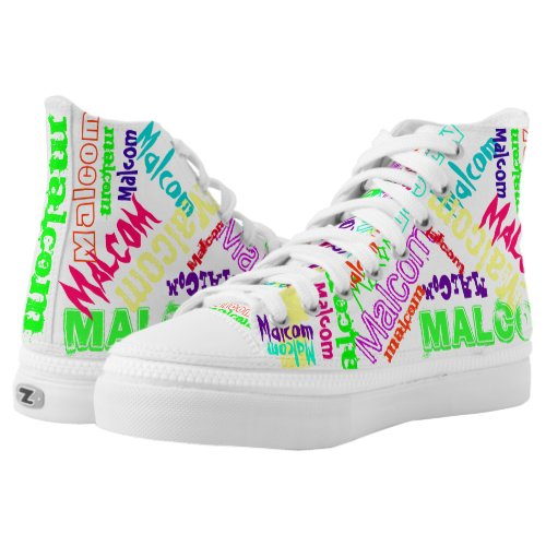 Hi Top Sneakers Personalized Name in colors