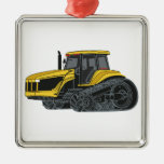 Hi Track Tractor Square Metal Christmas Ornament