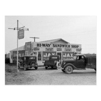 Hi-Way Sandwich Shop, 1939 Postcard