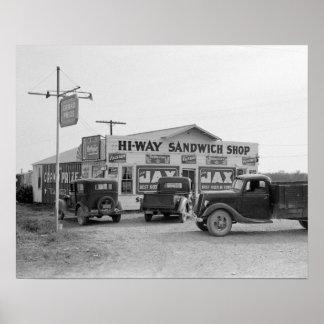 Hi-Way Sandwich Shop, 1939. Vintage Photo Poster
