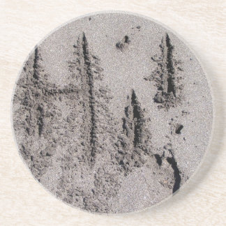 Hi! Written in Florida beach sand with footprints Coaster