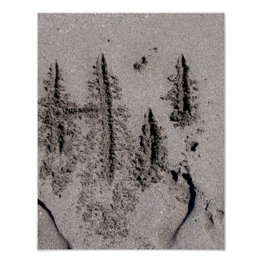 Hi! Written in Florida beach sand with footprints Poster