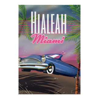 Hialeah Florida USA 80s travel poster