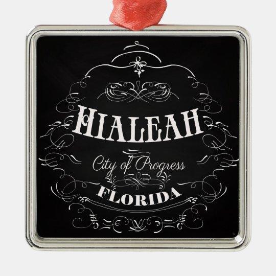 Hialeah, la Florida - ciudad del progreso Adorno Navideño Cuadrado De Metal