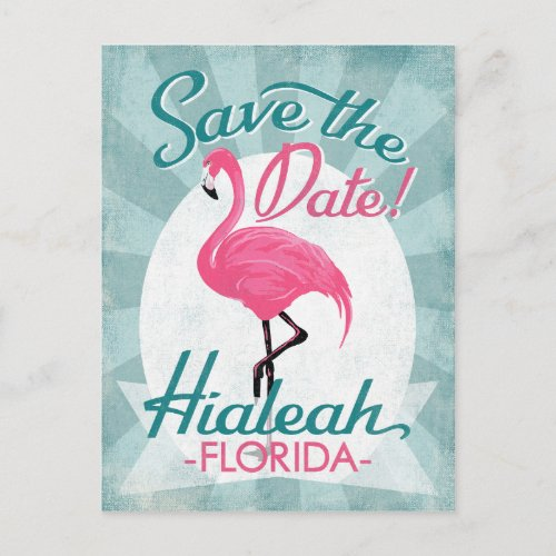 Hialeah Save The Date Pink Flamingo Postcards
