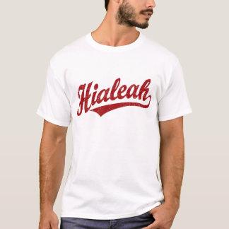 Hialeah script logo in red distressed T-Shirt