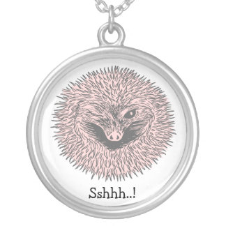 Hibernating Hedgehog Round Pendant Necklace