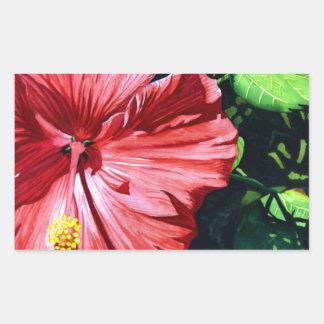 Hibisco 1, flor roja, jardín, arte de la acuarela pegatina rectangular
