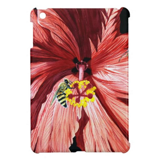 Hibisco 5, abeja, flor roja, jardín, arte de la ac