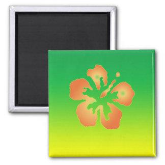 Hibisco abstracto en verde y amarillo imán cuadrado